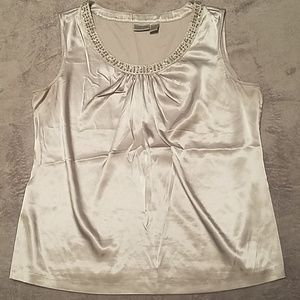 Chico's Silver Beaded Shell